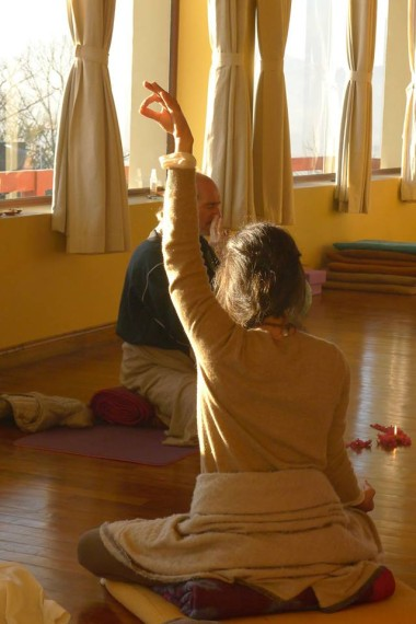 Pranayama practice during yoga teacher training with Heather Elton
