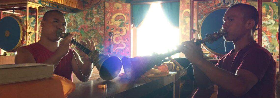 Buddhist meditation during yoga retreat in Nepal